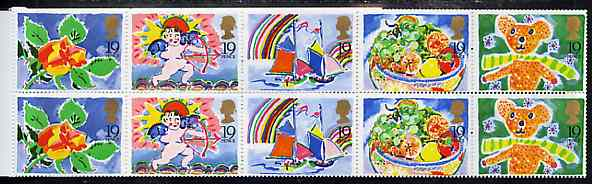 Booklet Pane - Great Britain 1989 Greeting Stamps unmounted mint booklet pane of 10 (2 sets of 5 plus 12 labels)