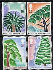 Great Britain 1990 Kew Gardens 150th Anniversary set of 4 unmounted mint SG 1502-05, stamps on flowers, stamps on trees, stamps on parks