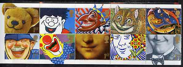 Booklet Pane - Great Britain 1991 Greeting Stamps (Smiles inscribed 1st) unmounted mint booklet pane of 10 plus labels,  SG 1550a