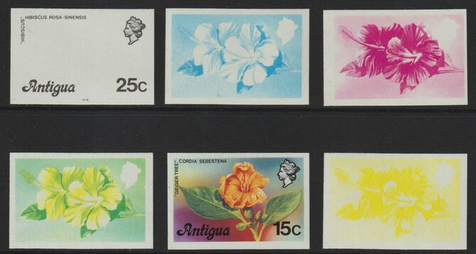 Antigua 1976 Hibiscus 25c (with imprint) set of 5 imperf progressive colour proofs comprising the 4 basic colours plus blue & yellow composite (as SG 479B) unmounted mint