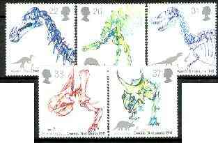 Great Britain 1991 Dinosaurs Identification by Owen set of 5 unmounted mint, SG 1573-77