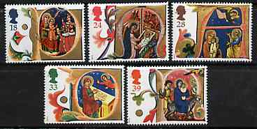 Great Britain 1991 Christmas - Illuminated Letters set of 5 unmounted mint SG 1582-86