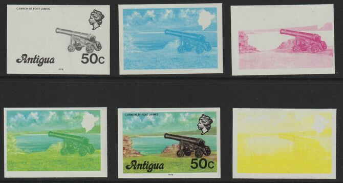 Antigua 1976 Cannon 50c (with imprint) set of 5 imperf progressive colour proofs comprising the 4 basic colours plus blue & yellow composite (as SG 481B) unmounted mint