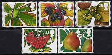 Great Britain 1993 The Four Seasons - Autumn Fruits set of 5 unmounted mint SG 1779-83, stamps on fruit   trees