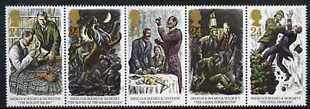 Great Britain 1993 Sherlock Holmes (The Final Problem) strip of 5 unmounted mint, SG 1784a