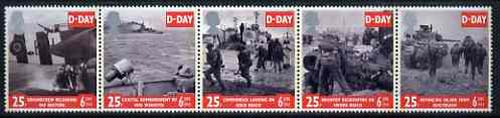 Great Britain 1994 D-Day 50th Anniversary, unmounted mint strip of 5 SG 1824-28