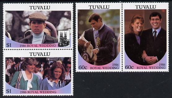 Tuvalu 1986 Royal Wedding (Andrew & Fergie) set of 4 (2 se-tenant pairs) unmounted mint, SG 397a-399a