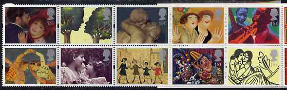 Booklet Pane - Great Britain 1995 Greeting Stamps (Greetings in Art) unmounted mint booklet pane of 10