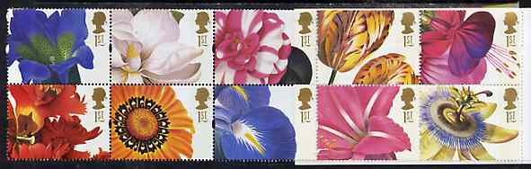 Booklet Pane - Great Britain 1997 Greeting Stamps (Flower Paintings) unmounted mint booklet pane of 10, SG 1955a