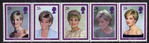 Great Britain 1998 Princess Diana Memorial Issue unmounted mint strip of 5, SG 2021a