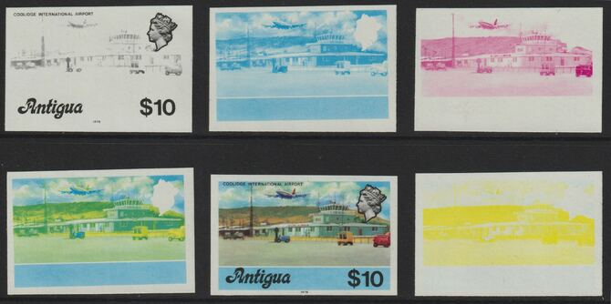 Antigua 1976 Coolidge Airport $10 (with imprint) set of 5 imperf progressive colour proofs comprising the 4 basic colours plus 2-colour composite (as SG 486B) unmounted mint