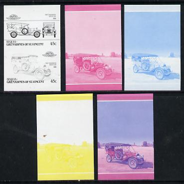 St Vincent - Bequia 45c Chadwick Great Six (1907) set of 5 imperf progressive colour proofs in se-tenant pairs comprising the 4 basic colours plus blue & magenta composite (5 pairs) unmounted mint, stamps on cars