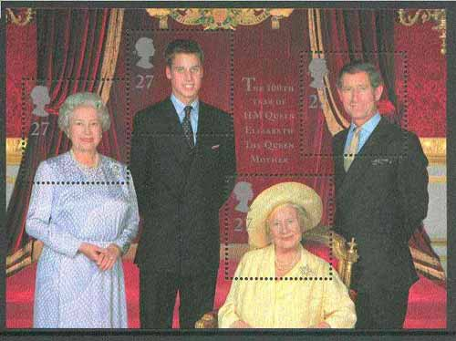 Great Britain 2000 Queen Mother's 100th Birthday m/sheet (featuring 4 generations of the Royal Family) unmounted mint SG MS 2161