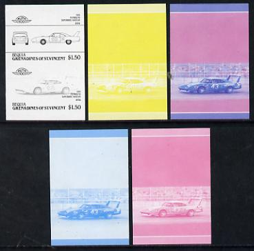 St Vincent - Bequia $1.50 Plymouth Superbird (1970) set of 5 imperf progressive colour proofs in se-tenant pairs comprising the 4 basic colours plus blue & magenta composite (5 pairs) unmounted mint