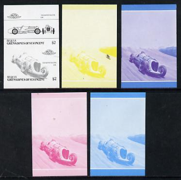 St Vincent - Bequia $2 Napier Railton (1933) set of 5 imperf progressive colour proofs in se-tenant pairs comprising the 4 basic colours plus blue & magenta composite (5 pairs) unmounted mint