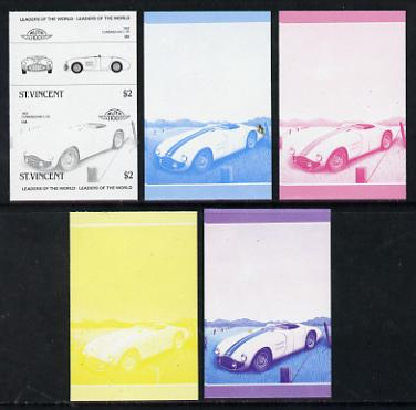 St Vincent 1985 Cars #3 (Leaders of the World) $2 Cunningham C-5R (1953) set of 5 imperf progressive colour proofs in se-tenant pairs comprising the 4 basic colours plus blue & magenta composite (5 pairs as SG 866a) unmounted mint