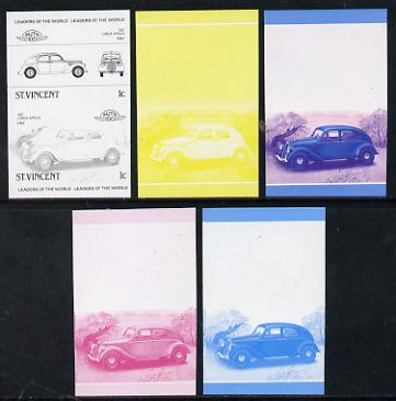 St Vincent 1985 Cars #3 (Leaders of the World) 1c Lancia Aprilia (1937) set of 5 imperf progressive colour proofs in se-tenant pairs comprising the 4 basic colours plus b...