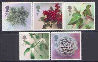 Great Britain 2002 Christmas - Plants self-adhesive set of 5 SG 2321-25