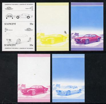St Vincent 1985 Cars #3 (Leaders of the World) 55c Pontiac Firebird (1973) set of 5 imperf progressive colour proofs in se-tenant pairs comprising the 4 basic colours plus blue & magenta composite (5 pairs as SG 864a) unmounted mint