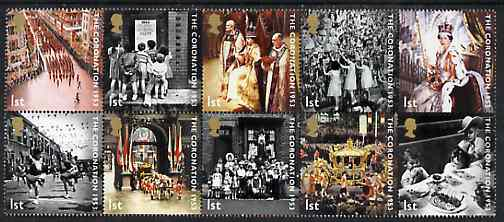 Great Britain 2003 50th Anniversary of Coronation perf set of 10 unmounted mint, SG 2368-75