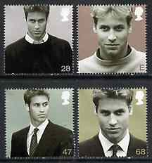 Great Britain 2003 21st Birthday of Prince William of Wales perf set of 4 unmounted mint, SG 2381-84, stamps on royalty