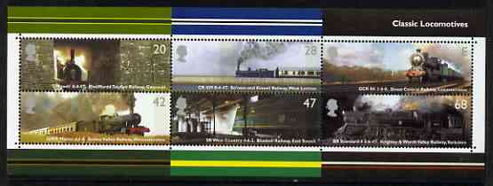 Great Britain 2004 Classic Locomotives perf m/sheet containing complete set of 6 unmounted mint SG MS 2423