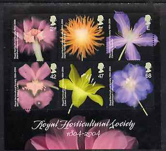 Great Britain 2004 Royal Horticultural Society Bicentenary (Flowers) perf m/sheet unmounted mint