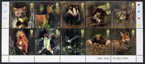 Great Britain 2004 Woodland Animals perf se-tenant block of 10 values unmounted mint SG 2479a