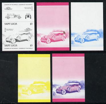 St Lucia 1984 Cars #2 (Leaders of the World) $3 Chrysler Imperial (1931) set of 5 imperf progressive colour proofs in se-tenant pairs comprising the 4 basic colours plus blue & magenta composite (5 pairs as SG 759a) unmounted mint