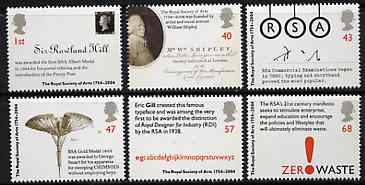 Great Britain 2004 Royal Society of Arts perf set of 6 unmounted mint SG 2473-78