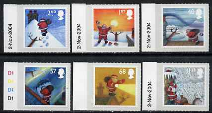 Great Britain 2004 Christmas self-adhesive set of 6 unmounted mint SG 2495-2500