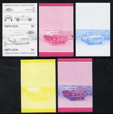 St Lucia 1984 Cars #2 (Leaders of the World) 75c Ford Mustang (1965) set of 5 imperf progressive colour proofs in se-tenant pairs comprising the 4 basic colours plus blue & magenta composite (5 pairs as SG 753a) unmounted mint