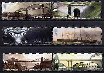 Great Britain 2006 Brunel Birth Bicentenary perf set of 6 unmounted mint SG 2607-12