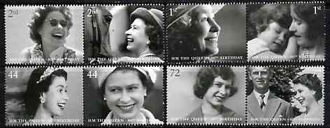 Great Britain 2006 80th Birthday of HM Queen Elizabeth II perf set of 8 (4 se-tenant pairs) SG 2620-27