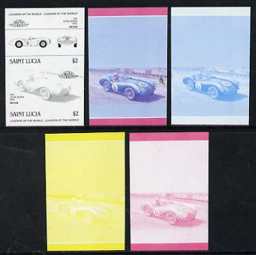 St Lucia 1984 Cars #2 (Leaders of the World) $2 Aston Martin DB3S (1954) set of 5 imperf progressive colour proofs in se-tenant pairs comprising the 4 basic colours plus blue & magenta composite (5 pairs as SG 757a) unmounted mint