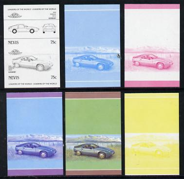 Nevis 1985 75c Porsche (1980) set of 6 imperf progressive colour proofs in se-tenant pairs comprising the 4 basic colours plus blue & magenta and blue, magenta & yellow composites (6 pairs as SG 330a) unmounted mint