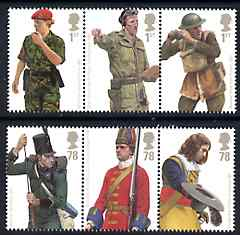 Great Britain 2007 British Army Uniforms perf set of 6 values (2 se-tenant strips of 3) unmounted mint SG 2774-79
