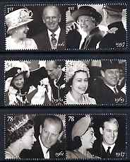 Great Britain 2007 Diamond Wedding Anniversary perf set of 6 (3 se-tenant pairs) unmounted mint SG 2780-85