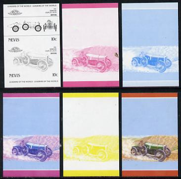 Nevis 1985 10c Sunbeam Coupe (1912) set of 6 imperf progressive colour proofs in se-tenant pairs comprising the 4 basic colours plus blue & magenta and blue, magenta & yellow composites (6 pairs as SG 326a) unmounted mint, stamps on cars, stamps on sunbeam