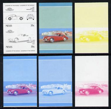 Nevis 1985 35c Cisitalia Coupe (1948) set of 6 imperf progressive colour proofs in se-tenant pairs comprising the 4 basic colours plus blue & magenta and blue, magenta & yellow composites (6 pairs as SG 328a) unmounted mint