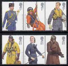 Great Britain 2008 Military Uniforms - RAF perf set of 6 (2 se-tenant strips of 3) unmounted mint SG 2862-67