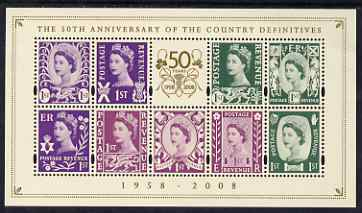 Great Britain 2008 50th Anniversary of Country Definitives perf m/sheet unmounted mint SG MS NI 111