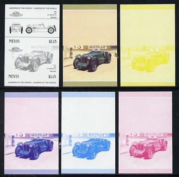 Nevis 1985 $1.15 MG K3 Magnette (1933) set of 6 imperf progressive colour proofs in se-tenant pairs comprising the 4 basic colours plus blue & magenta and blue, magenta &...