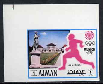 Ajman 1971 800 metres 1dh from Munich Olympics imperf set of 20, Mi 726B unmounted mint