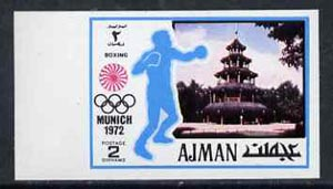 Ajman 1971 Boxing 2dh from Munich Olympics imperf set of 20, Mi 727B unmounted mint