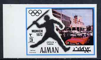 Ajman 1971 Javelin 3dh from Munich Olympics imperf set of 20, Mi 728B unmounted mint