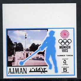 Ajman 1971 Hammer 5dh from Munich Olympics imperf set of 20, Mi 730B unmounted mint, stamps on hammer