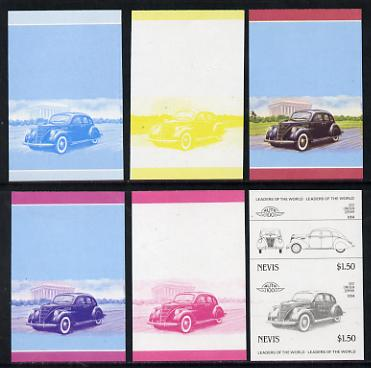 Nevis 1985 $1.50 Lincoln Zephyr (1937) set of 6 imperf progressive colour proofs in se-tenant pairs comprising the 4 basic colours plus blue & magenta and blue, magenta &...
