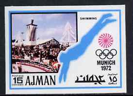 Ajman 1971 Swimming 15dh from Munich Olympics imperf set of 20, Mi 735B unmounted mint