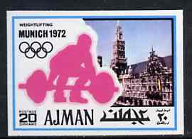 Ajman 1971 Weightlifting 20dh from Munich Olympics imperf set of 20, Mi 736B unmounted mint